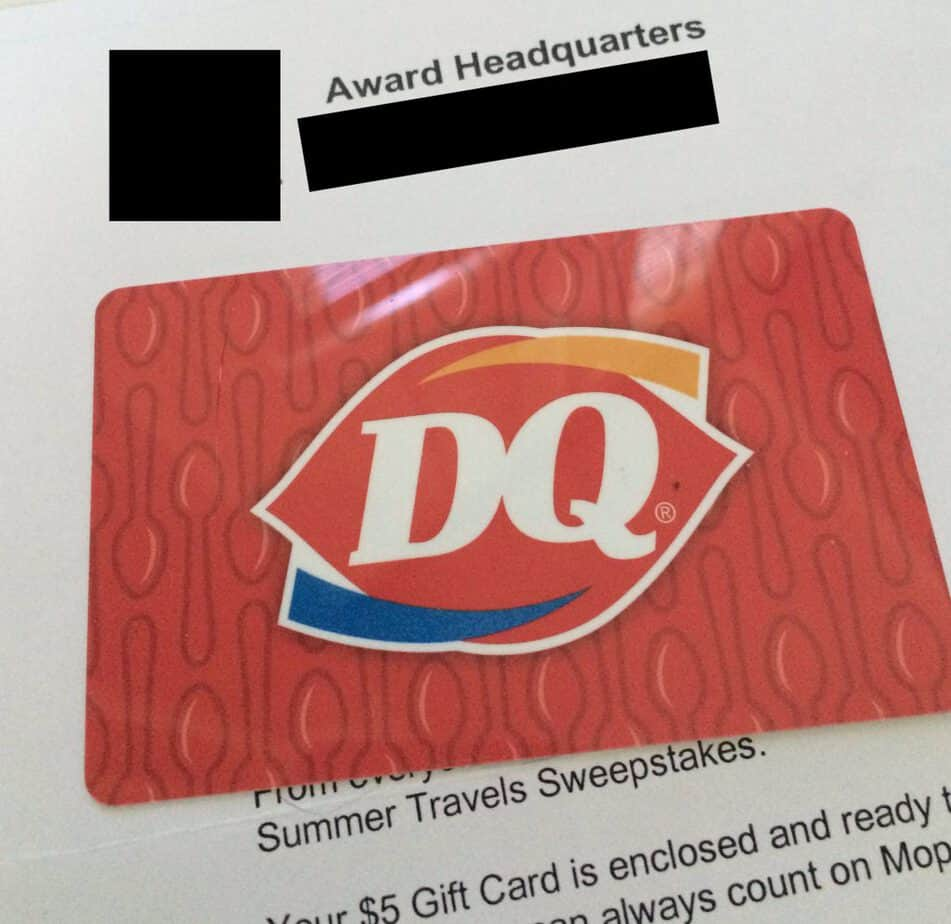 a giftcard won from an online sweepstake