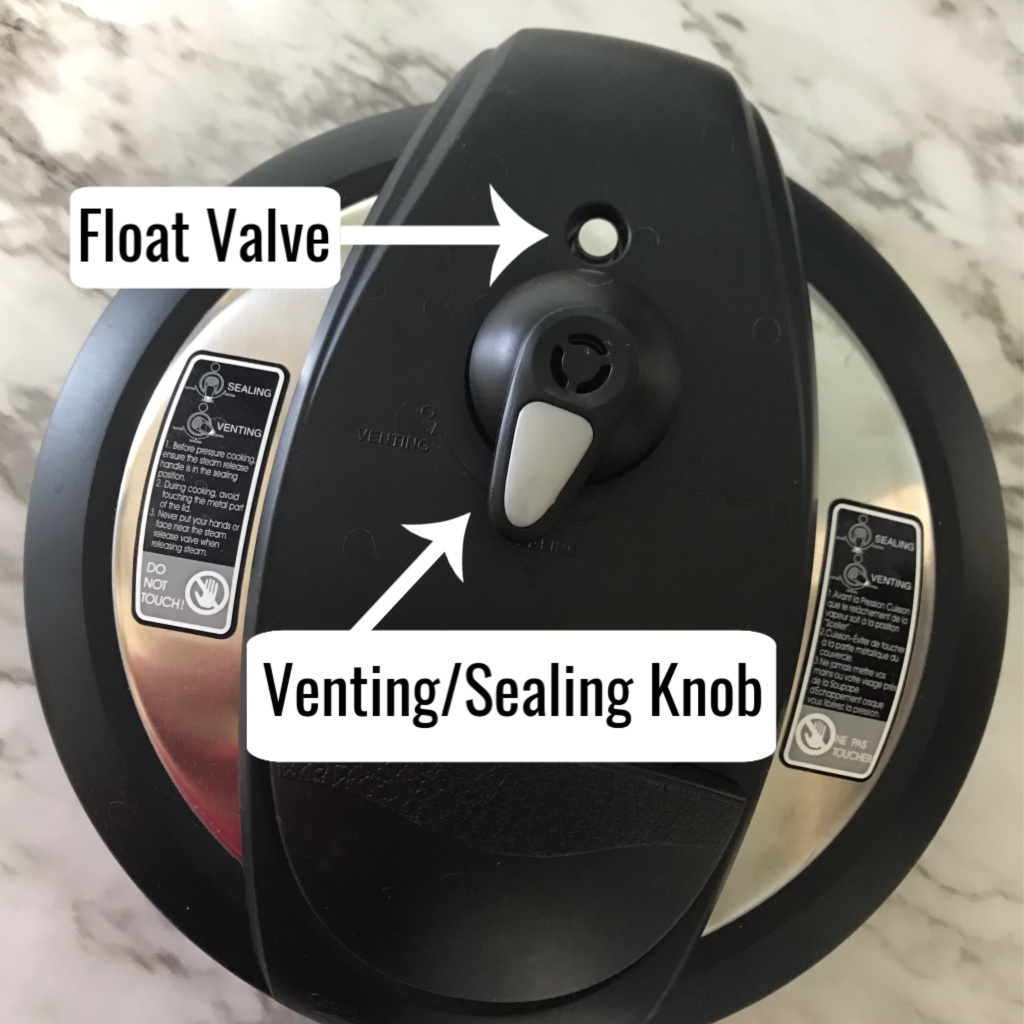 The instant pot lid labeled to help you with use.