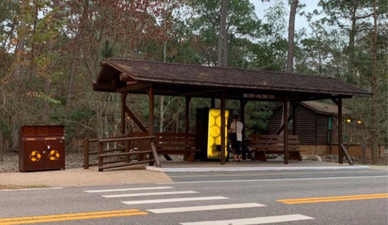 A Fort Wilderness Resort internal bus stop.