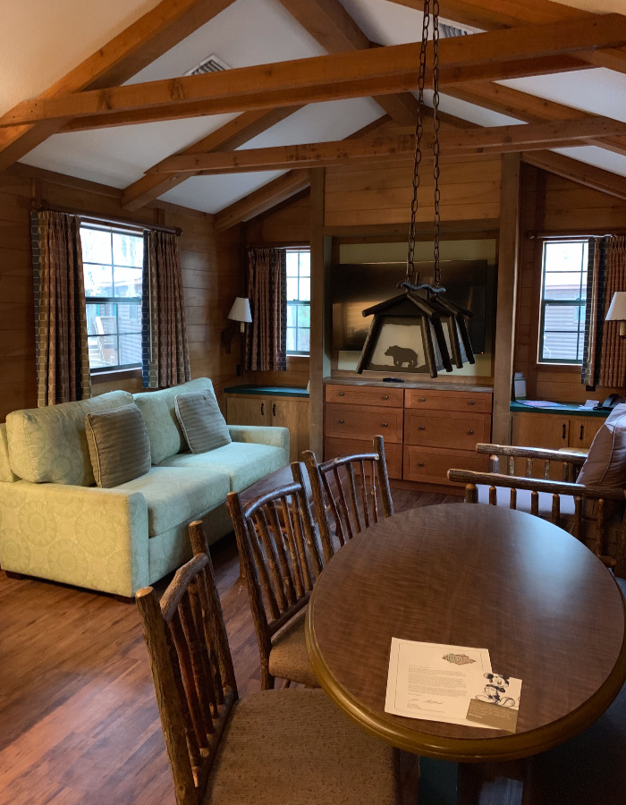 Fort Wilderness Cabin living area.