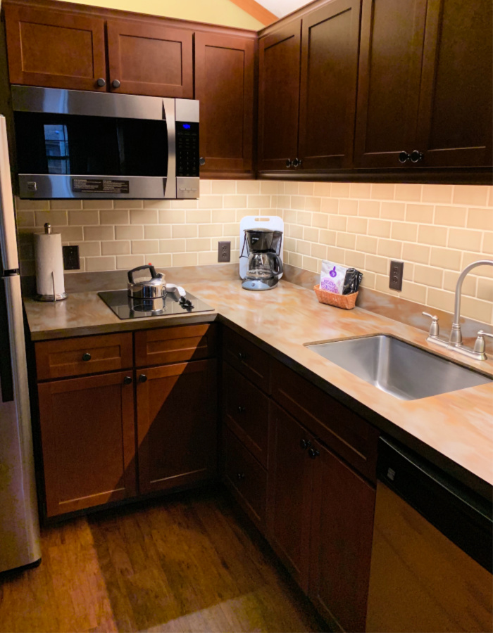 The kitchen in the Fort Wilderness Cabins.