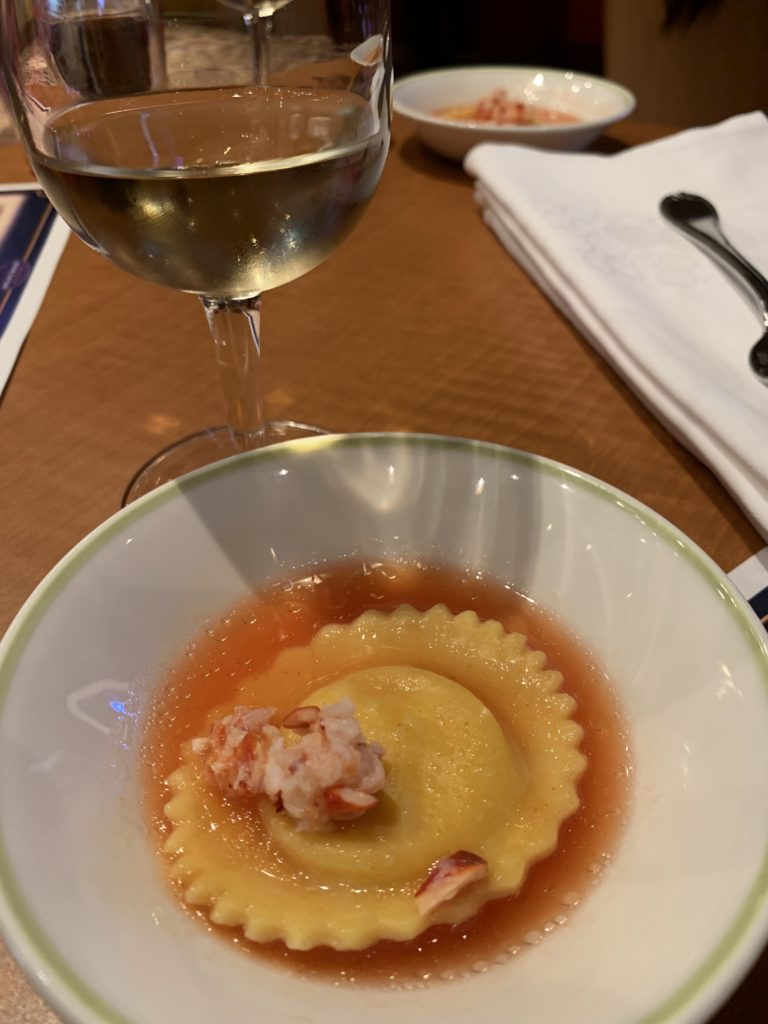 Lobster Ravioli paired with Wine.