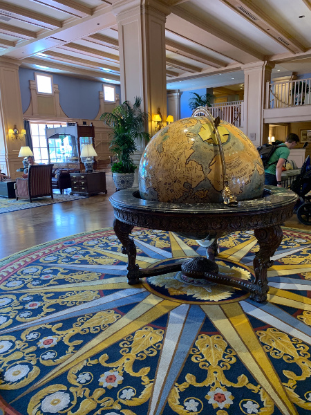 large globe in the lobby of Disney's Yacht Club