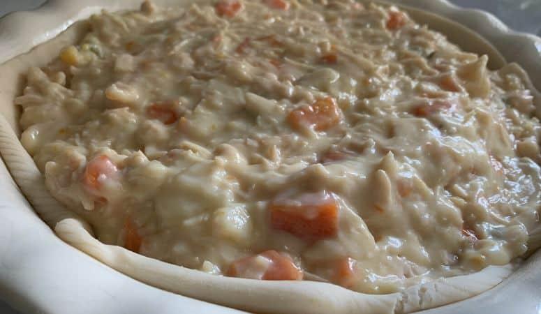 chicken pot pie mixture in a pie pan