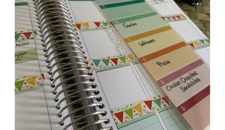meal planning with a planner